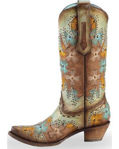 60e8fb766b68 Corral Women s Mint Maple Inlay Studded Floral Embroidered Cowgirl Boots -  Snip Toe