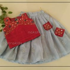 Material: Dark red rawsilk top with ash skirt Skirt & Top model (Full length) Hook back closure for easy dressing Cotton lining for comfort Baby Frocks Party Wear, Kids Party Wear Dresses, Cute Baby Dresses, Kids Dress Wear, Baby Girl Party Dresses, Kids Gown, Dresses Kids Girl, Baby Girl Skirts, Baby Skirt