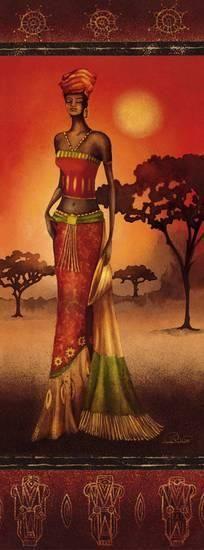 Nicola Rabbett: Masai Lady at Sunset Keilrahmen-Bi African Artwork, African Paintings, Afrique Art, African Theme, Black Artwork, Sunset Art, Afro Art, African American Art, African Women