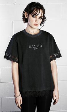 Salem Tee #disturbiaclothing disturbia 1692 lace metal silver alien goth occult grunge alternative punk