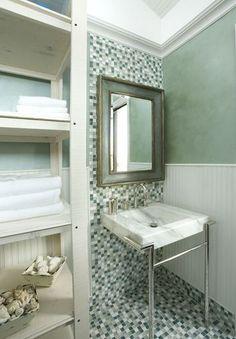 Small bathroom with glass tile mosaic floor Bathroom Tiles Images, Glass Tile Bathroom, Bathroom Floor Tiles, Bathroom Fixtures, Small Bathroom, Wall Tile, Shower Tiles, Bathroom Designs, Master Bathroom