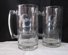 Pair Granite City Brewery Beer Mugs Beer Glass 24oz Stein Bar Barware Huge Glass