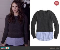 Spencer's textured sweater on Pretty Little Liars. Outfit Details: http://wornontv.net/46384/ #PLL