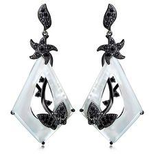 Shell Earrings White Gold & Black Gun Plated AAA CZ Long Ethnic Earrings Stars & Butterfly Design Silver Pin Statement Earrings