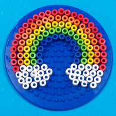 Circular Rainbow with Clouds - Spring Melty Bead Shapes - Craft Project Ideas - (Hama Perler Beads Clone) Perler Bead Designs, Hama Beads Design, Diy Perler Beads, Perler Bead Art, Melty Bead Designs, Melty Bead Patterns, Pearler Bead Patterns, Perler Patterns, Beading Patterns