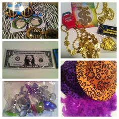 Dollar Tree finds great for decorating a pimp party. The money could also be used with the invites or for games during the party.