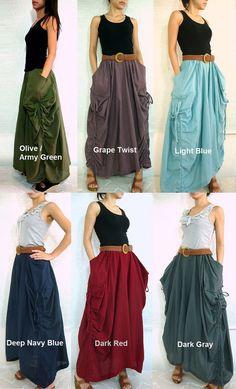Lagenlook Maxi Skirt Big Pockets Long Skirt in Olive by idea2wear