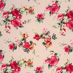 "Red Gold Roses Floral on Cream Cotton Spandex Blend Knit Fabric - Pretty rose floral print in colors of red, pink, golden yellow, and more on a cream lighter weight cotton spandex rayon blend knit.  Fabric is soft with a nice drape and four way stretch.  Largest rose measures 2"".  ::  $6.50"