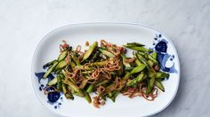 Stir-Fried Asparagus with Bacon and Crispy Shallots | Bon Appetit Recipe COULD THIS BE POSSIBLE RECIPE FOR MUSTARD'S Restaurant Onion rings??