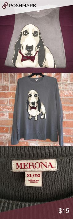 "💕Adorable Puppy Long Sleeve Top XL RUNS BIG This top is sooo adorable! It's in EUC. 100% cotton. It measures 24"" underarm to underarm and is 30"" long. It does run big so please use my measurements as your guide. Don't you just love Basset Hounds!? 💜💜 Merona Tops Tees - Long Sleeve"