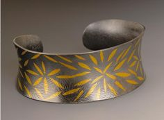 keum boo 24k gold & oxidized sterling silver starburst anticlastic cuff