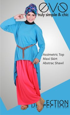 Assimetric Top  Material : Semi Rayon Spandek  Colour : Blue    Maxi Skirt  Material : Cotton  COlour : Shocking Pink