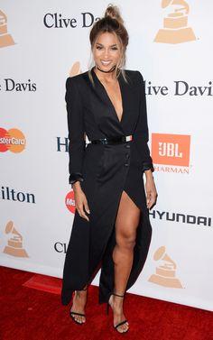Ciara in a long black tuxedo dress