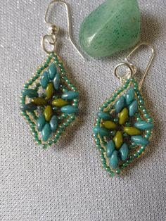 Green and turquoise silver duo earrings