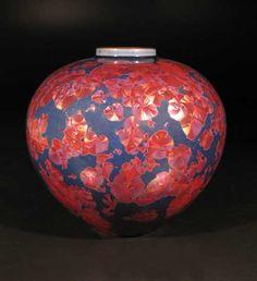 "Bill Boyd ""Vase"" Reduced Copper and Cobalt crystalline glaze."