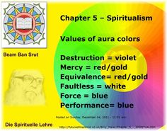 Chapter 5 – Spiritualism   Values of aura colors   Destruction = violet  Mercy = red/gold  Equivalence= red/gold  Faultless = white  Force = blue  Performance= blue  Posted on Sunday, December 04, 2011 - 11:51 am:  Ban-Srut Beam  - Last Prophet - Lineage of Nokodemion