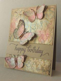 antique butterflies and flowers: HA, stencil, sponging, gesso, vintage