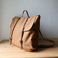 The Rucksack / Backpack in Cinnamon Brown Cotton Canvas and Leather // infusion on etsy