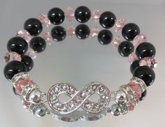Bracelet, infinity bracelet with black and pink Swarovski pearls and crystals | YOUniqueDZigns - Jewelry on ArtFire