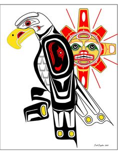 Haida Point NW Style Art Drawn on the Computer Inuit Kunst, Inuit Art, Native American Totem, Native American Symbols, Arte Tribal, Tribal Art, Guardian Angels, Indian Artwork, Maori