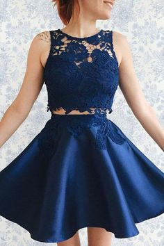 Two Piece Dark Blue Satin Homecoming Dress with Lace Appliques-Pgmdress