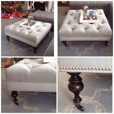 Grey tufted ottoman with sexy legs! #nailhead detail