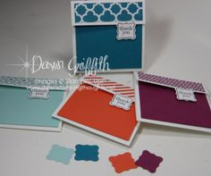 Tiny 3-inch square gift cards! ~ using two Sale-a-bration items!!!  (These were Dawn Griffith's February 2013 thank you notes)