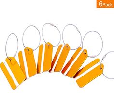 Metal Luggage Tags Orange 6 Pack * Want to know more, click on the image.Note:It is affiliate link to Amazon.