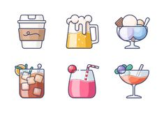 'Drink & Beverage' by Microdot Graphic Cute Doodle Art, Doodle Icon, Cute Doodles, Cute Food Drawings, Kawaii Drawings, Cartoon Drawings, Chibi Body, Drink Icon, Cool Paper Crafts