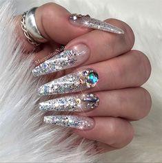 Glitter Ombré Bling Coffin Nails by MargaritasNailz