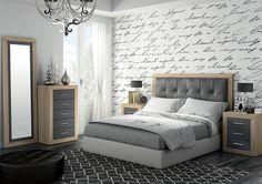 Moderno dormitorio de matrimonio compuesto por: - Cabecero tapizado en simil piel de 161 cm. y 2 mesitas. (Opcional sinfonier y espejo vestidor) Disponible en 3 combinaciones de color.
