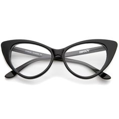 be5691a27a2 Retro High Sitting Temples Clear Lens Exaggerated Cat Eye Glasses 55mm