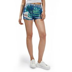 Women's Topshop 'Ashley' Sequin Cutoff Denim Shorts ($70) ❤ liked on Polyvore featuring shorts, blue multi, distressed shorts, cut off jean shorts, distressed denim shorts, ripped jean shorts and denim cutoff shorts