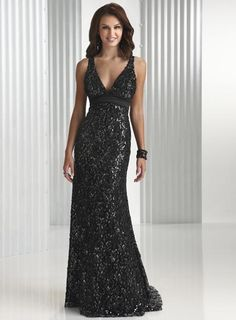 Evening Dress- Black/Silver Lace and slinky satin