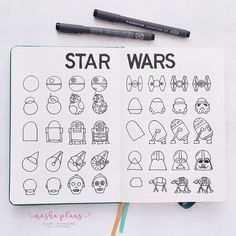 Are you a Star Wars fan? I got you covered with Star Wars themed BuJo pages, doodle tutorials and stationery to bring the space epic to your journal pages. Bullet Journal 2020, Bullet Journal Notebook, Bullet Journal Ideas Pages, Bullet Journal Inspiration, Journal Pages, Bullet Journal Stencils, Doodle Inspiration, Space Doodles, Cuadros Star Wars