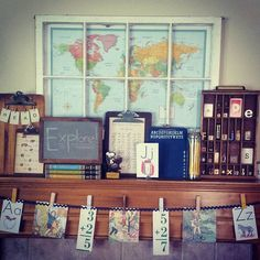 Back to school mantel decor. Before we know it, the kids will be off to school!… - Back To School Back To School Party, School Parties, School Decorations, School Themes, School Ideas, Vintage School Decor, Vintage Classroom Decor, Back To School Displays, Back To School Window Display