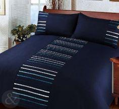Got it!   -AG MODERN STRIPED Duvet Cover Poly Cotton Bedding Quilt Cover Ribbon Satin Bed Set Navy Blue Double Duvet Cover: Amazon.co.uk: Kitchen & Home