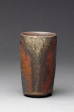 """Lindsay Oesterritter   """"Sipper"""" iron rich stoneware, wood fired reduction cool 4"""" x 2.5"""" x 2.5"""" 2011"""