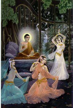 ภาพวาดพุทธประวัติ โดย อ.คำนวน ชานันโท สุดยอด พุทธจิตรกร (buddha016) พระพุทธเจ้าเสวยวิมุตติสุขและขับไล่ธิดามารทั้ง 3 Gautama Buddha, Buddha Buddhism, Buddhist Art, Buddha Thoughts, Buddha Life, Budha Painting, Buddha Artwork, Thailand Art, Buddhist Traditions