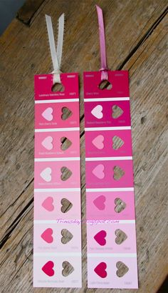 Quick and Easy Valentines Day Bookmarks made out of paint sample strips. #Valentines #Bookmarks #Paintsamples