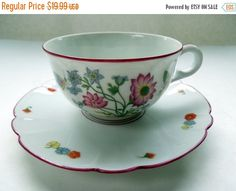 Vintage French Limoges Tea Cup Saucer Flowers by Passion4Europe