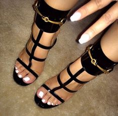 European Patent High Heel Sandalias Mujer Cut Outs Summer Shoes Woman Buckle Zapatos Mujer Ankle Gladiator Sandals Women Pumps Cute Shoes, Me Too Shoes, Hot Heels, Black Heels, Black Sandals, Black Suede, Strappy Sandals, Heeled Sandals, Women Sandals