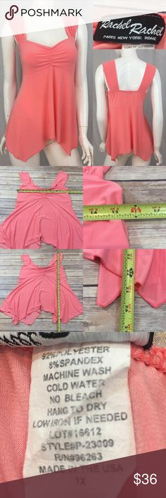 ❣️Sz 1X Rachel Rachel Coral Color Asymmetrical Top Measurements are in photos. Normal wash wear, no flaws. E3/35 **runs small but has some stretch, see measurements.  I do not comment to my buyers after purchases, due to their privacy. If you would like any reassurance after your purchase that I did receive your order, please feel free to comment on the listing and I will promptly respond.   I ship everyday and I always package safely. Thank you for shopping my closet! Rachel Rachel Tops…
