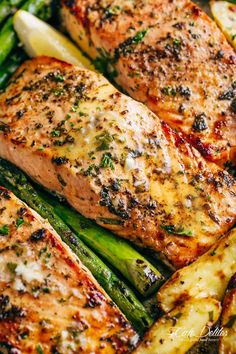 Garlic Butter Baked Salmon One pan salmon: Oven 400 for 20 minutes. Salmon, Asparagus, Carrots with Grass fed butter, Lemon Juice and crushed garlic + salt.