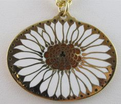 "Vintage 1970's ""NOS"" Signed CLOISART LRG White Gold  Flower Pendant Necklace 25"""