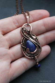 Lapis lazuli pendant, wire wrap pendant, wire wrapped jewelry