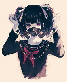 Ragazza manette maschera