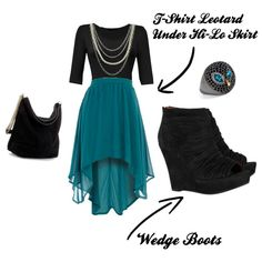 This outfit to me would be something I'd wear out on the town if I were feeling a little bit edgy. Black t-shirt leotard paired with this gorgeous green hi-lo skirt. Add the black wedge boots and bag and accessorize with silver chain necklace and that awesome owl ring.