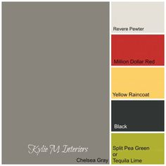 boys room colour paint palette using chelsea gray, green, yellow red and black
