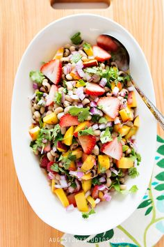 Black Eyed Pea Salad with Grilled Peaches
